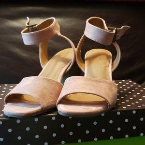 Nude stack heel sandals